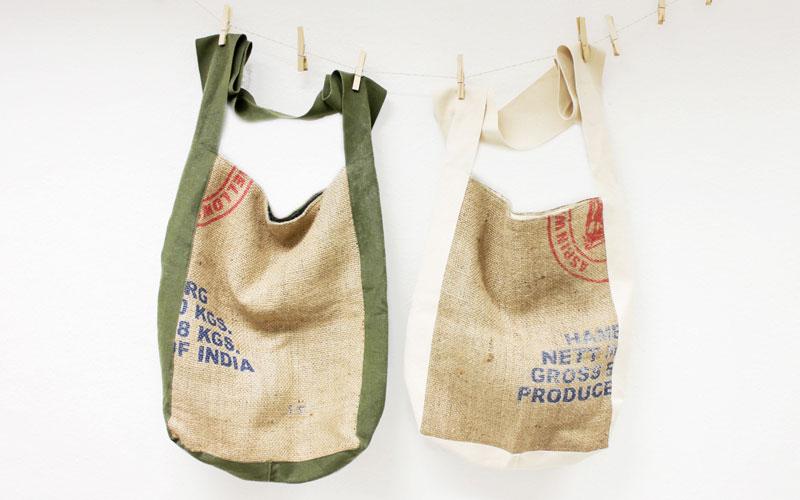 aus recycelten Kaffeesäcken